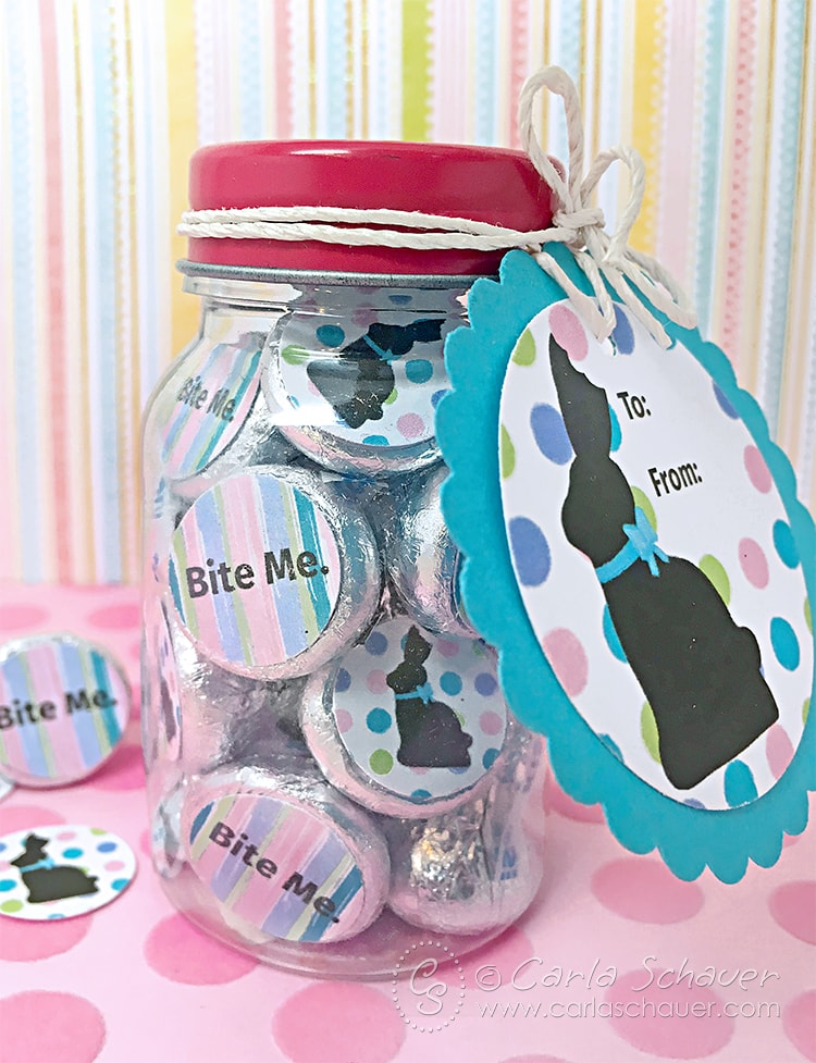 """Bite Me"" Chocolate Candy Jar with free printable candy labels. Hilarious! 