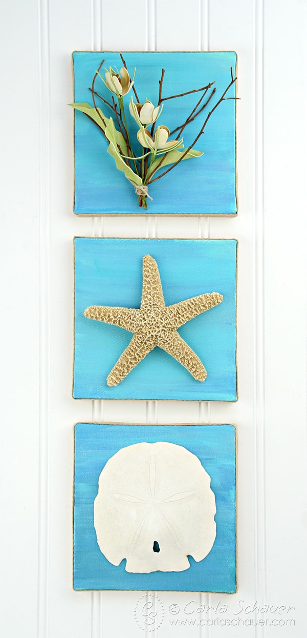 Make DIY Coastal Art Canvases as beachy home decor. Tutorial from Carla Schauer Designs