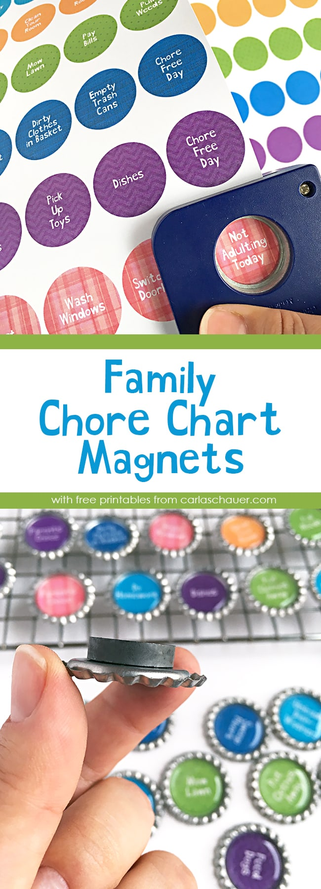 How to make family chore chart magnets using bottlecaps and printables. I can make these! | Tutorial and printables from carlaschauer.com