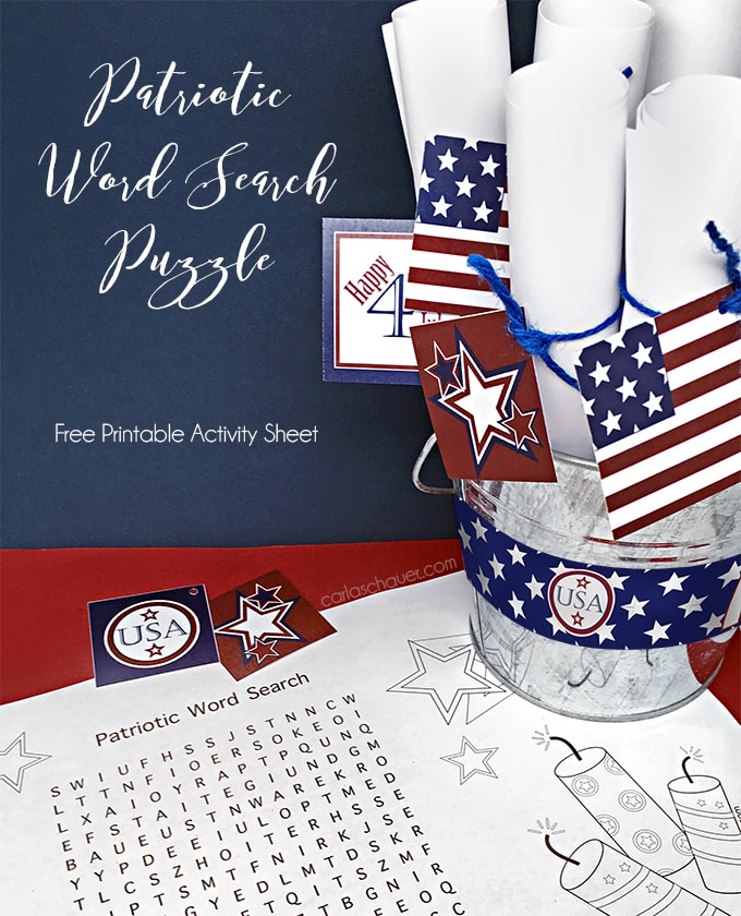 Free printable patriotic activity pages for tweens and teens. Great for parties and picnics! | Carla Schauer Designs