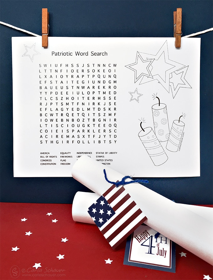 Free printable patriotic word search.   Carla Schauer Designs