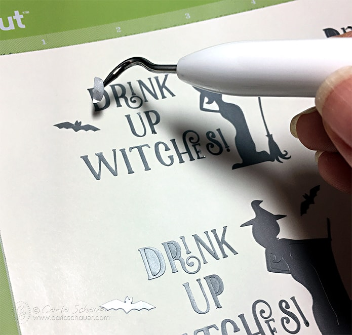 Drink Up Witches! Free cutting file for making custom Halloween glasses with the Cricut. From Carla Schauer Designs