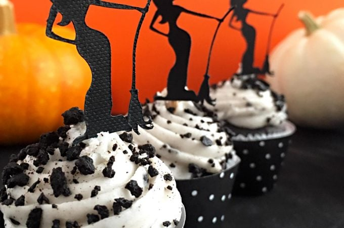 Make cupcake toppers and wraps for cute Halloween party decorations. Get free witch cutting file from Carla Schauer Designs